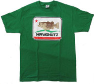 Large Mouth Bass Fishing Hawgnutz California Flag Bass T-Shirt (Medium, Green)