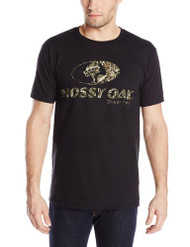 Mossy Oak Men's XXL Front Logo Short Sleeve T-Shirt, Black, XX-Large [Apparel]