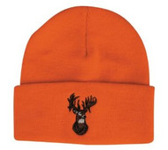 Blaze Orange Deer Hunting Beanie Hat With Buck Design