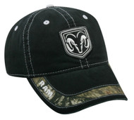 Dodge Ram Black Mossy Oak Patch Visor Hat
