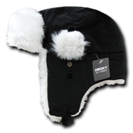 Decky Faux Fur Trooper Aviator Style Winter Hat (Black, Small/Medium)
