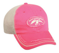 Duck Commander Womens Fuchsia/Lt. Grey Frayed Mesh Cap