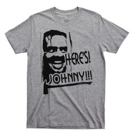 Jack Nicholson Here's Johnny Red T Shirt Stanley Kubrick The Shining Sport Gray Tee