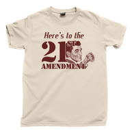 21st Amendment Prohibition Drinking T Shirt Moonshine Tan Tee