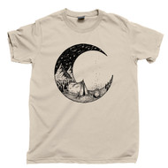 Camping Under The Moon And Stars T Shirt Outdoor Mountain Hiking & Bonfires Tan Tee