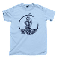 Ship Sailing The Ocean Seas T Shirt Pirate Captain Sailor Nautical Light Blue Tee