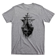 Pirate Skull Ghost Ship T Shirt Jolly Roger Skull & Crossbones Sport Gray Tee