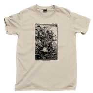 Kraken Attacks Ship T Shirt Giant Octopus Squid Shark Attack Tan Tee
