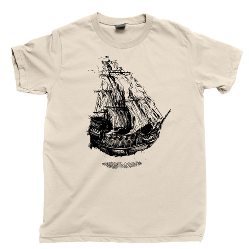 Flying Dutchman's Ship T Shirt Underwater Shipwreck Pirate Treasure Natural Cotton Tee