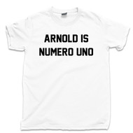 Arnold Is Numero Uno T Shirt Pumping Iron Movie Bodybuilding Muscle Gym Workout White Tee