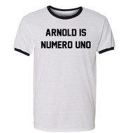 Arnold Is Numero Uno Ringer T Shirt Pumping Iron Movie Bodybuilding Muscle Gym Workout White / Black Ringer Tee