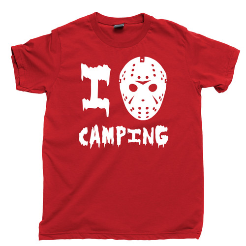 Friday The 13th T Shirt Jason Voorhees I Love Camping Camp Crystal Lake Red Tee