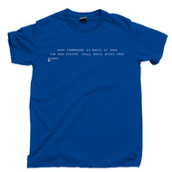 Commodore 64 Start Screen T Shirt Boot Screen Ready 80s 8-Bit Home Computer Royal Blue Tee