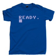 Commodore 64 Ready T Shirt Boot Screen Ready 80s 8-Bit Home Computer Royal Blue Tee