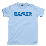 Gamer T Shirt 80s 90s Retro Cartridge Video Game Console Systems Light Blue Tee