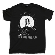 Nightmare Before Christmas T Shirt Jack And Sally We're Simply Meant To Be Black Tee