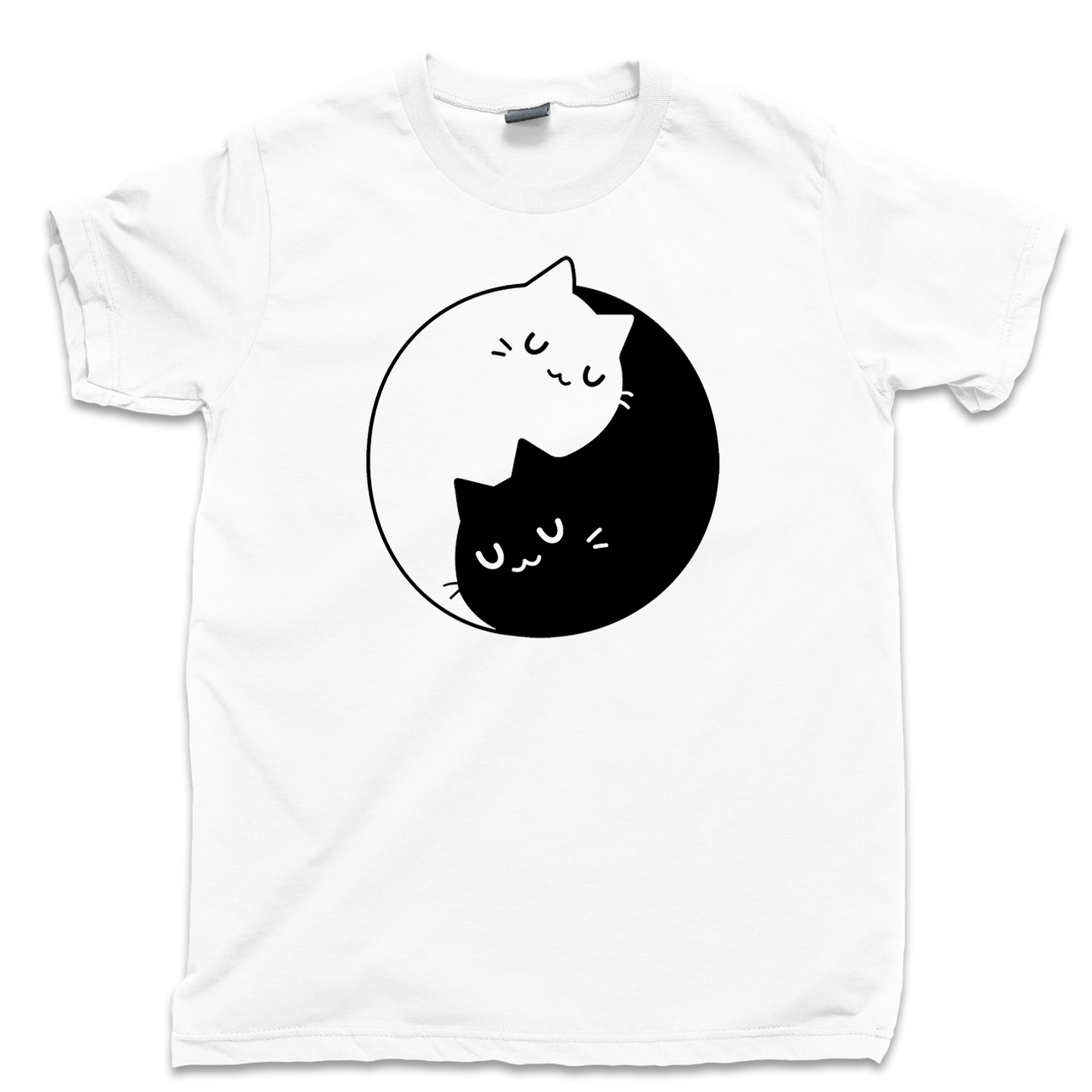 YIN AND YANG CAT DESIGN 100/% FULL COLOUR COTTON  T SHIRT