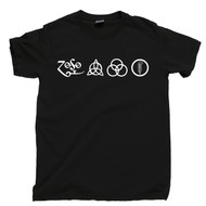 Led Zeppelin 4 Symbols T Shirt Stairway To Heaven Black Tee