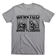 Snake Plissken Wanted Sport Gray T Shirt Escape From New York L.A. John Carpenter Movie Tee