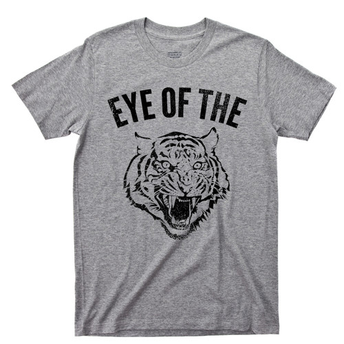 Eye Of The Tiger Sport Gray T Shirt Rocky Balboa Boxing Movie Survivor 80s Rock Music Tee