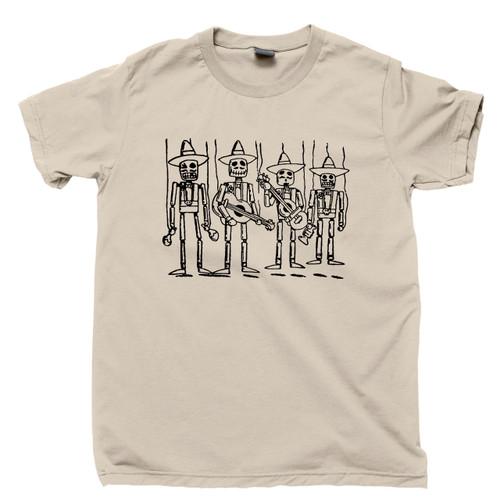 Mariachi Music Band Tan T Shirt Skeletons Sugar Skull Calavera Day Of The Dead Tee