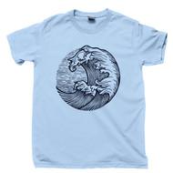 Ocean Waves Light Blue T Shirt Deep Blue Sea Diving Sailing Surfing Beach Conservation Tee