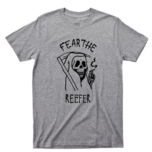 Grim Reaper Sport Gray T Shirt Fear The Reefer Marijuana Cannabis Spliff Doobie Joint Tee