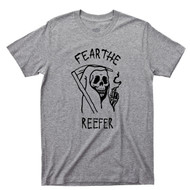 Grim Reaper Sport Gray T Shirt Fear The Reefer Marijuana Cannabis Spliff Doobie Joint Tee