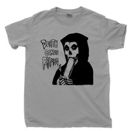 Grim Reaper Light Gray T Shirt Misfits Death Comes Ripping Bong Hit Legalize Marijuana Cannabis Tee