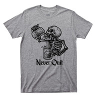 Never Quit Sport Gray T Shirt Beer Mug Drinking Skeleton Tattoo Tee