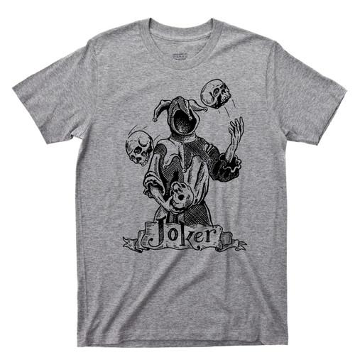 Evil Joker T Shirt Jester Juggling Skulls Ace Spade King Clubs Queen Hearts Diamonds Tattoo Gray Tee