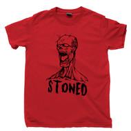 Zombie T Shirt Stoned Drunk Hammered Cannabis Marijuana Red Tee