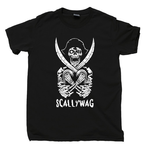 Scallywag Pirate Black T Shirt Skeleton Swords Skull & Crossbones Jolly Roger Tee