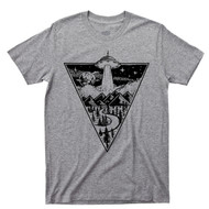 Alien Flying Saucer Gray T Shirt UFO Extraterrestrial Spaceship Abduction Tee