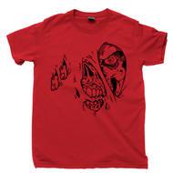 Zombie T Shirt Monster Ripping Flesh Blood Guts Skull Skeleton Graphic Art Red Tee