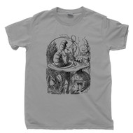 Alice In Wonderland T Shirt Lewis Carroll John Tenniel Book Illustration Hookah Smoking Caterpillar Gray Tee