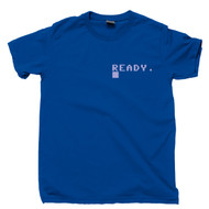Commodore 64 Ready Pocket Print T Shirt Boot Screen Ready 80s 8-Bit Home Computer Royal Blue Tee