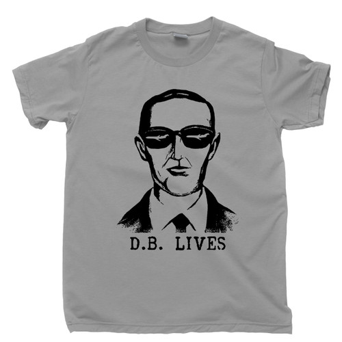 DB Cooper Lives Gray T Shirt FBI Most Wanted Fugitive Criminal Outlaw Unsolved Mystery Conspiracy Tee