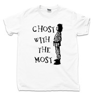Ghost With The Most T Shirt Beetlejuice Tim Burton Michael Keaton Winona Ryder Lydia Deetz Movie White Tee