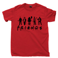 Horror Friends T Shirt Jason Voorhees Freddy Krueger Michael Myers Leatherface Pennywise Movies Red Tee
