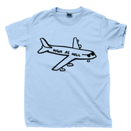 High As Hell Plane T Shirt Aviation Aviator Pilot Funny Marijuana Cannabis Stoner Pot Head Blue Tee