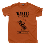 Jackalope T Shirt Wanted Jack A Lope Jackrabbit With Antelope Horns Cryptids Cryptozoology Texas Orange Tee