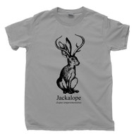 Jackalope T Shirt Lepus Temperamentalus Jackrabbit With Antelope Horns Cryptids Cryptozoology Gray Tee