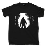 Bigfoot T Shirt Moonlight Sasquatch Monkey Ape Man Yeti Cryptids Cryptozoology Black Tee