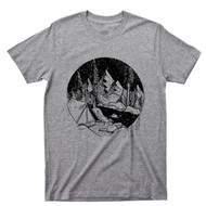 Camping T Shirt Campground Campsite Sleeping At Night By The River & Mountains Gray Tee