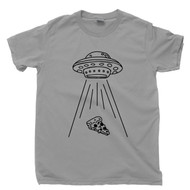 Alien T Shirt Pizza Slice Abduction By UFO Extraterrestrials Love Pizza Pizza Lover Gray Tee