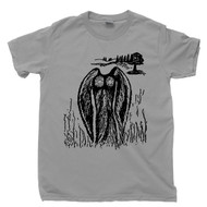 Mothman Sketch T Shirt Silver Bridge Point Pleasant West Virginia Red Eye Cryptid Gray Tee