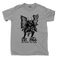 Mothman T Shirt EST 1966 Point Pleasant West Virginia Silver Bridge Red Eye Cryptid Gray Tee