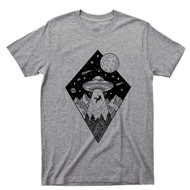 Alien T Shirt Extraterrestrial UFO Abduction Outer Space Diamond Stars Comets Suns Moons Planets Gray Tee