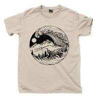 Tsunami T Shirt Hurricane Storm Breaking Ocean Rogue Waves Mountains Moon & Stars Art Of Nature Tan Tee